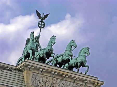 The pretty horses on top of the Brandenburg Gate, Berlin