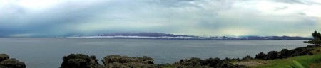 Misty panorama of the Finisterre Range across Astrolabe Bay from Madang