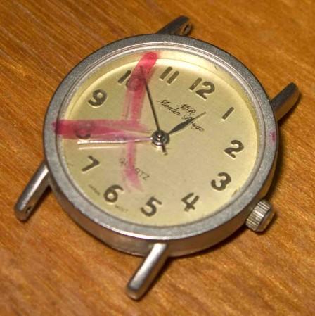 Eunie's watch that died of terminal internal green stuff