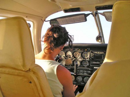 Nuria in the cockpit