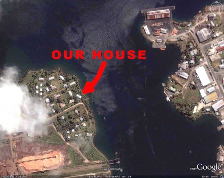 Our house in Madang is directly across the harbour from the main wharf