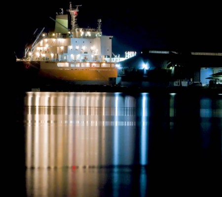"The ""North Contender"" just before dawn in Madang Harbour, PNG"