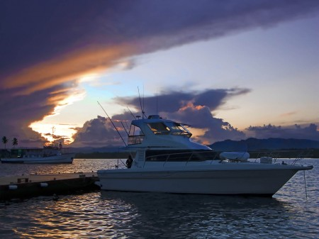 A game fishing boat rests in the twilight after a hard day's fishing at the GFAPNG 2009 Titles