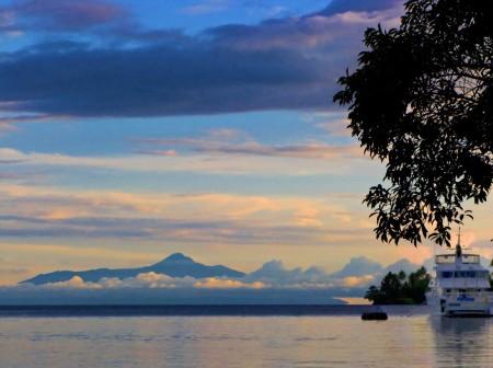 Kar Kar Island with Sir Peter Barter's Kalibobo Spirit on the right