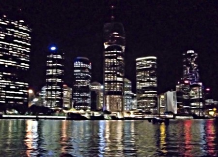 A Brisbane waterfront scene at night