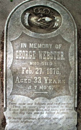 George Webster's tombstone - Hamilton, Ontario