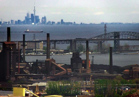 Hamilton steel mills, the skyline bridge, and Toronto in the distance