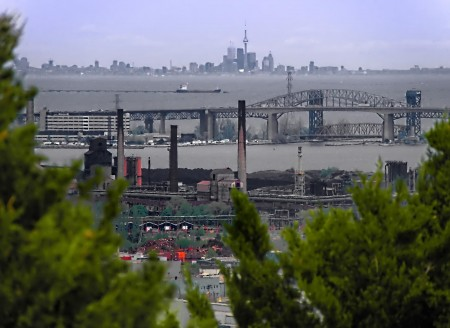 Another view of steel mills, the bridge, and Toronto miles away