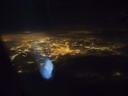 Los Angeles at Night from Qantas flight to New York City