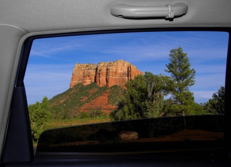 One of Sedona's masterpieces through the window of Grace's car