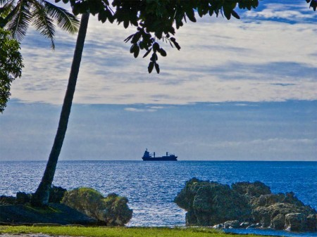 A ship on Astrolabe Bay - departing Madang
